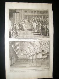 Picart C1730 Folio Antique Print. Religious Catholic Holy Door